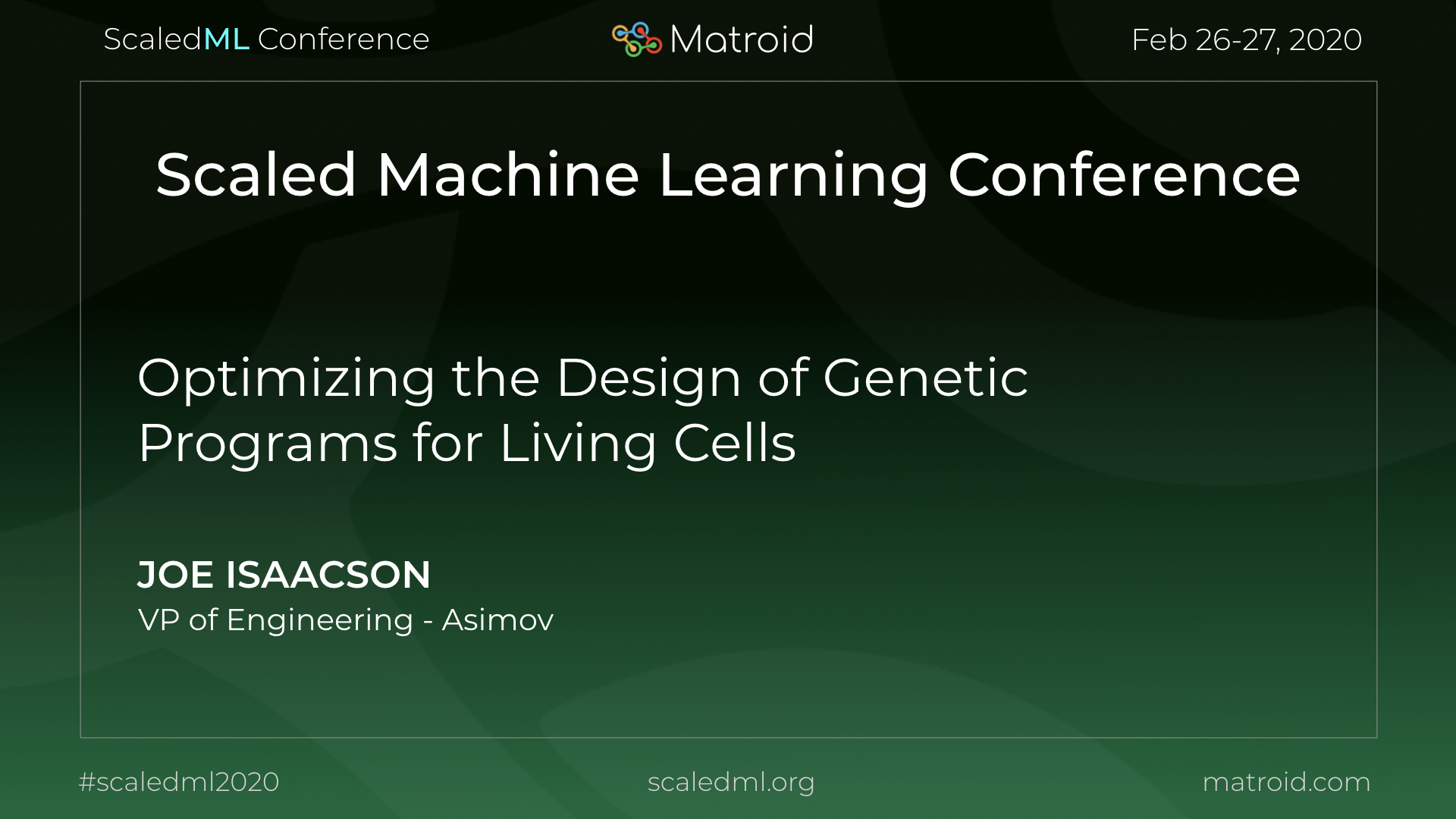 Joe Isaacson Asimov ScaledML Conference TPU CPU GPU Computer Vision AI Artificial Intelligence Machine Learning